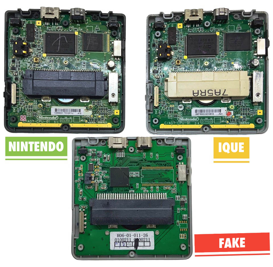 Game Boy Advance SP compare ique and nintendo